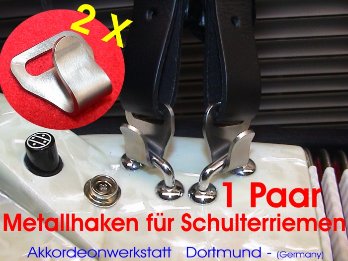 2 x Metall- Haken für Akkordeon- Riemen / Gurte, 2 x hook for ac